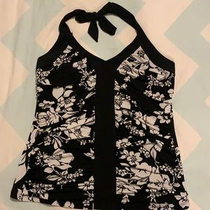 Black and white floral halter top
